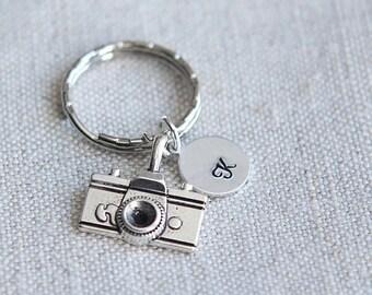 SALE Camera Keychain, Photographer keychain, Camera Keyring, Initial keychain, Personalized Keychain, Photography Gift, Photography Keychain