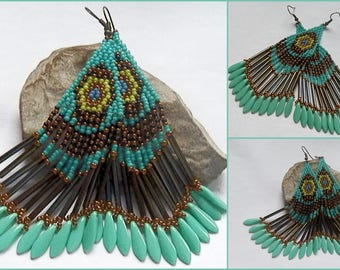 Woven earrings turquoise, green, black and bronze