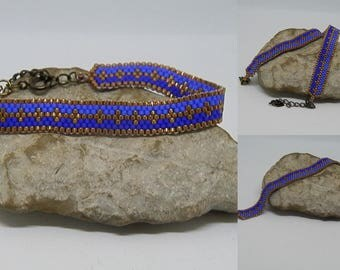 Woven blue and bronze bracelet