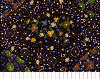 Bush Food Dreaming Black~Australian Aboriginal Cotton Fabric, by M & S Textiles~Fast Shipping,N517