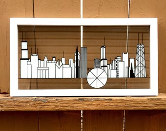Chicago Skyline, landscape, white, 2d, christmas gift