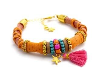 Statement bracelet orange / pink / turquoise, tassel, ibiza jewelry, summer, beads, gold, star