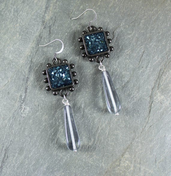 Bohemian Chic ~ Rustic Romantic ~ Blue Sparkle earrings