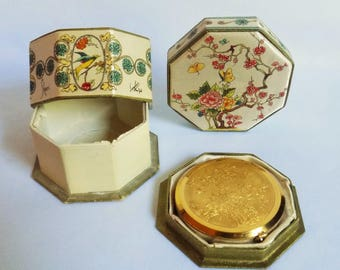 Shari by Langlois Compact, Silk Powder Box and Matching Powder and Rouge  Compact, with Original Silk Covered Boxes, Art Nouveau 1920s