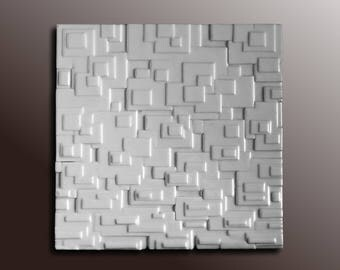 Resin on Wood White Wall Sculpture - Abstract Wall Art - Modern Wall Art - Textured Wall Panel - 3D Panel Wall Art  - Resin Wall Art
