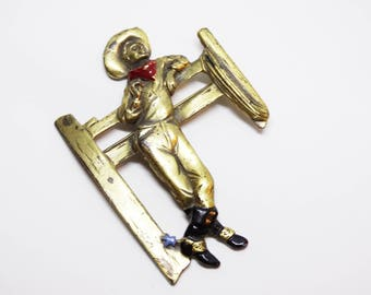 Vintage Enameled Brass Large Novelty Cowboy in Spurs Brooch
