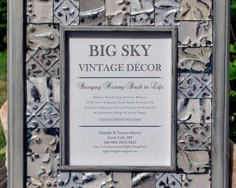 Tin Ceiling Tile Picture Frame Antique Vintage Rustic Architectural Salvage Wedding Anniversary Gift   FR1374