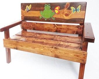 Childrens Garden Bench, Outdoor Furniture, Reclaimed Wood, Boy/Girl Kids  Toddler+,