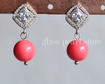 glass pearl with zircons earrings, dangling pearl earrings,pink coral earrings, beautiful bridesmaid earrings, women earrings stud dangling