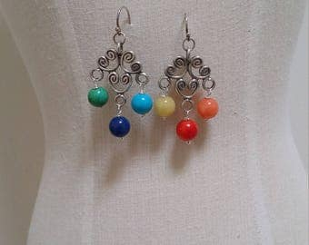 Sterling silver rainbow earrings.