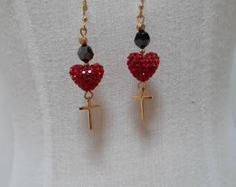 Swarovski crystal and gold vermeil earrings.