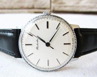 Russian Men's Watch Raketa Vintage Men's Watch,Retro Watch, Wrist Watch Mechanical Working Old Watch USSR Black and White Watch