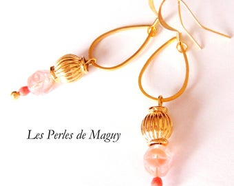 Dangle drop earrings gold Pink Pearl