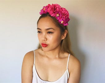 Purple 'SKYLA' Dahlia and Rose floral headpiece/ headband