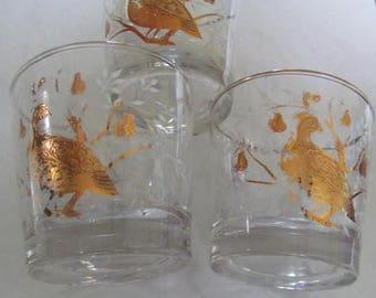 Vintage Barware Libbey Glassware A set of (3) Partridge Bird Gold Filigree Designs Low Ball Mid Century