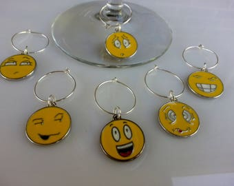 Set of Six - Emoticon Wine Charms