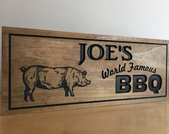 Father's Day BBQ Grill Signs Personalized for Wooden Carved Grill theme Groomsman Gift Mancave Smoke House Weber Grill Charcoal Grill Master