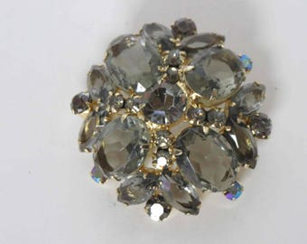 DELIZZA & ELSTER Juliana Black Diamond Rhinestone Domed Brooch - Book Piece