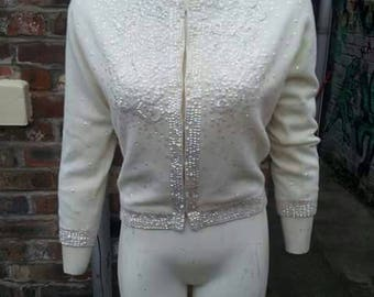Beautiful cream wool 1950s lined jumper with beading and sequins