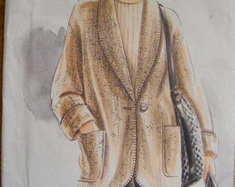 ON SALE 35% OFF Loose Fitting Unlined Jacket Uncut Vogue Sewing Pattern 9057 Size 12 14 16