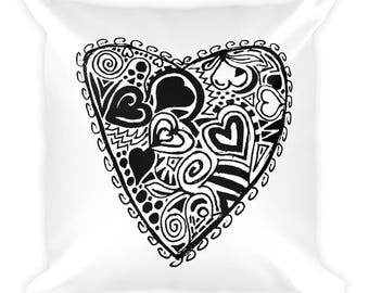 Valentine's Love Heart Square Pillow