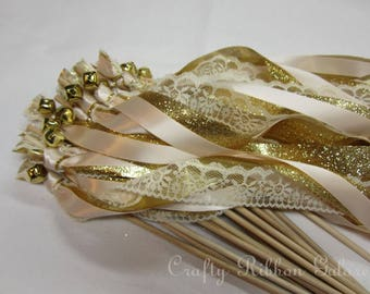 50 Sendoff Glitter Wedding Wands Triple streamers with bells.  Ribbons and/or lace your choice of colors.