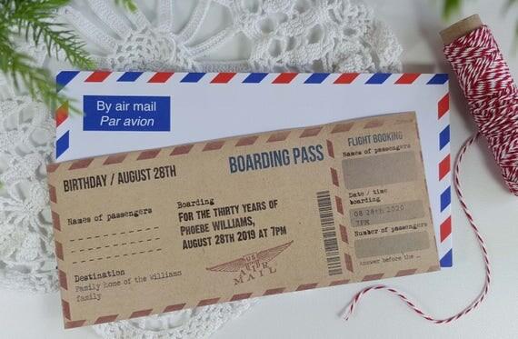 Préférence Invitation / faire-part / Boarding pass ANNIVERSAIRE thème FU61