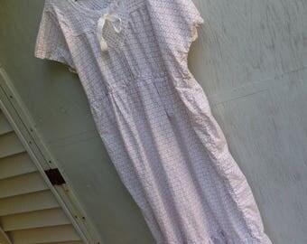 Nightgown, Cotton Sleepwear, Crochet Yoke Nightie,Pink Floral Nightie,Maxi Nightgown, Plus Size Long Nightie