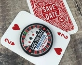Wedding Save The Date Magnets - Las Vegas/ Roulette Wheel Design Complete With Mini Backing Cards