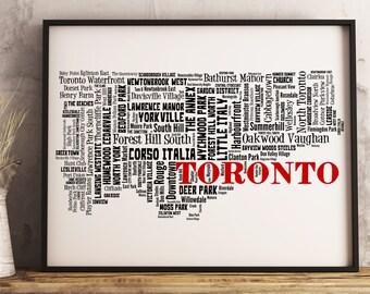 Toronto Map Art, Toronto Art Print, Toronto Neighborhood Map, Toronto Typography Art, Toronto Wall Decor, Toronto Moving Gift