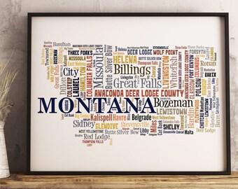 Montana Map Art, Montana Art Print, Montana City Map, Montana Typography Art, Montana Poster Print, Montana Word Cloud