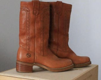 20% off Double H, HH leather boots 9D campus boots,stacked heel caramel tan leather boho hippie like Frye boots