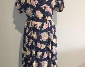 1980's  FLORAL TEA DRESS