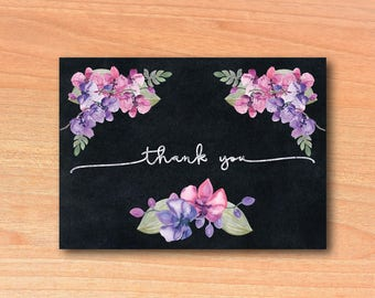 Thank you Notes Purple Floral | You Print Thank you Notes Instant Download