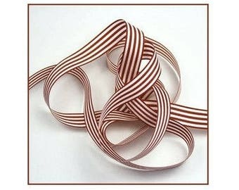 Striped Ribbon marron16 mm the meter polyester