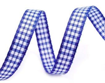 3 M 10 mm blue gingham cotton Ribbon