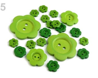 20 buttons mixed green wood