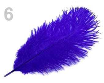 1 25 cm 6 blue ostrich feather