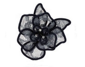 Black Lace flower and Crystal