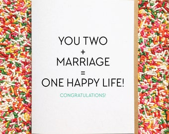 One Happy Life! - Wedding Card. Engagement Card. Funny Greeting Card. Card for Friend. Congrats Card. Card for Best friend. Marriage Card
