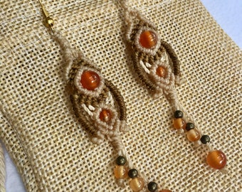 Earrings With Agate - Brass - Handmade Macrame