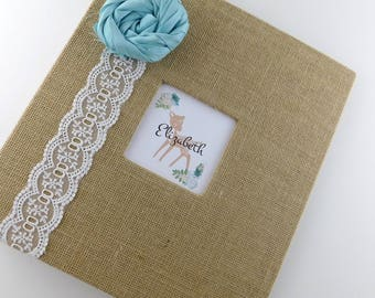 Baby Photo Album Burlap Baby Girl Album Woodland Deer Fawn Teal Blue 4x6 5x7 8x10 picture book