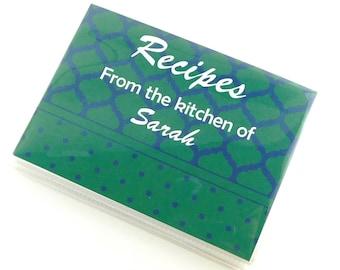 RRecipe Card Book Waterproof Vinyl Kitchen Organizer EMPTY Recipe Card Folder Bridal Shower Guest Advice Family Wishes Green Navy 769