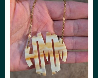 "NEW ITEM!! Acrylic Monogram Necklace - 2"" Horn Monogram Necklace for Graduation, Birthdays, Wedding Party Gifts - Bridesmaids Present Idea"