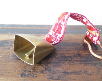 Metal Brass Bell with red ornamented Ribbon Rustic Farmhouse Bell Handmade Cow Bell Souvenir Bell @235-11