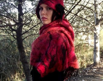 SALE Felted wool shawl Felt scarf Felt shawl Nuno OOAK Felted wrap Red and black scarf Felt wrap Fairy Pixie Elf