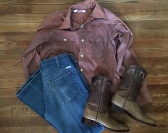 Sz 8 Larry Mahan Mens Cowboy Boots Vintage USA Tan Leather
