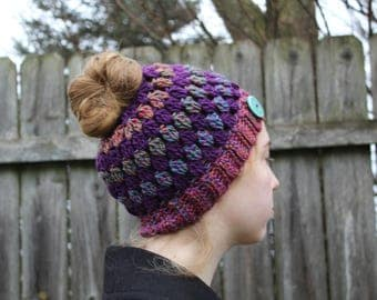 RTS Messy Bun Hat, Purple Multicolored Ponytail Beanie, Ready to Ship, Striped Handmade Crochet Messy Bun Beanie, Knit Pony tail Hat