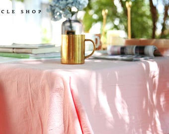 pink Black Grey White solid color soft Cotton Tablecloths, Square Rectangle Round tablecloth, Table linen, Modern Simple Wedding tablecloth