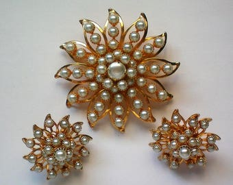 Judy Lee Faux Pearl Brooch and Clip Earrings - 5476